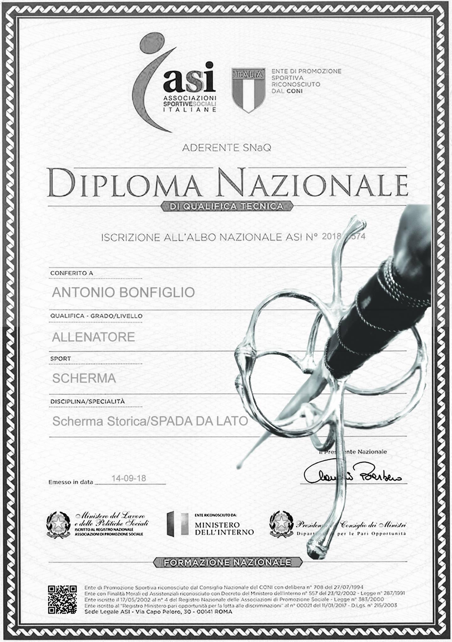 8 ott 18 - Consegna diploma Antonio Bonfiglio - Ars Gladii 06